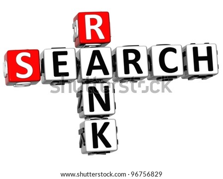 3D Search Rank Crossword cube words on white background - stock photo
