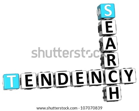 3D Search Tendency Crossword on white background