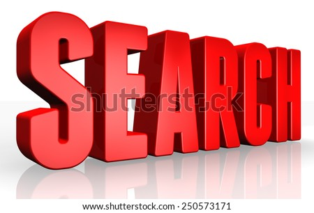 3D search text on white background - stock photo
