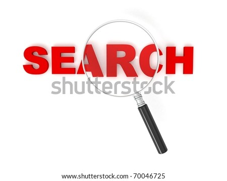 3d search text with magnifier isolated on white background