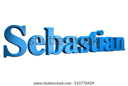 3D Sebastian text on white background