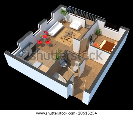 3D sectioned apartment with furniture with clipping path - stock photo