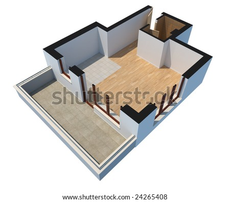 3D sectioned empty apartment with clipping path