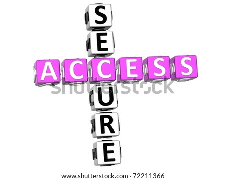 3D Secure Access Crossword on white background - stock photo