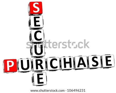 3D Secure Purchase Crossword on white background