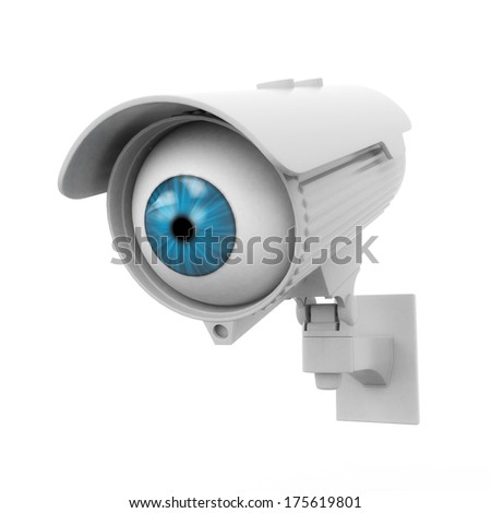 3d security camera with blue eye - stock photo