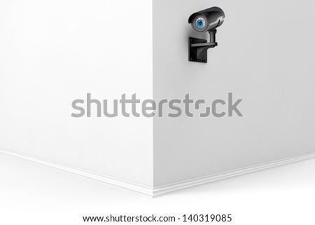 3d Security Camera with eye on a wall - stock photo