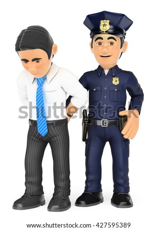 3d security forces people illustration. Policeman arresting a thief. White collar criminal. Isolated white background. - stock photo