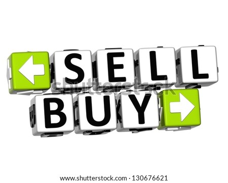 3D Sell Buy Button Click Here Block Text over white background