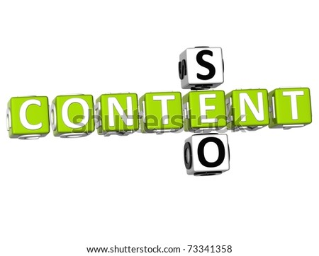 3D Seo Content Crossword on white background - stock photo