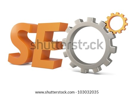 3d seo Search Engine gears on white background - stock photo