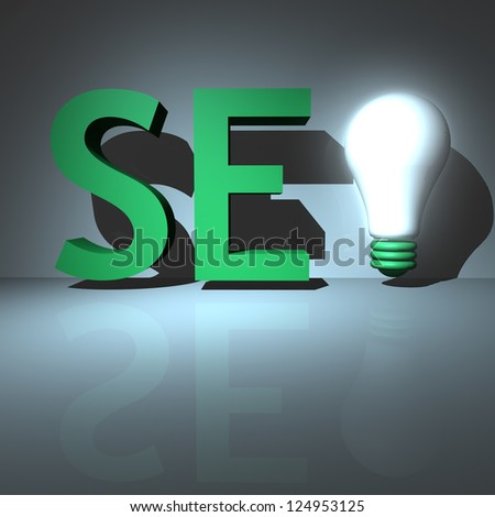 3D SEO text with a light bulb for competitive advantage - stock photo