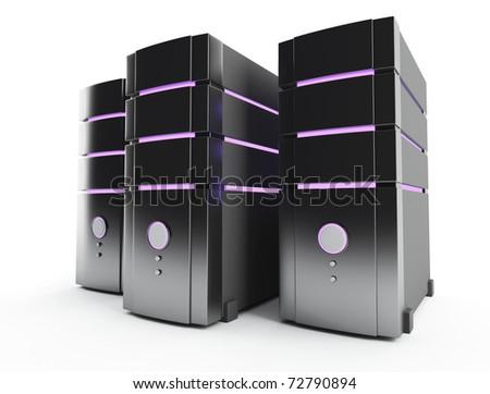 3D server farm computer on white - stock photo