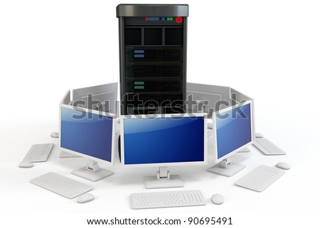 3d server with computer terminlsl on white background