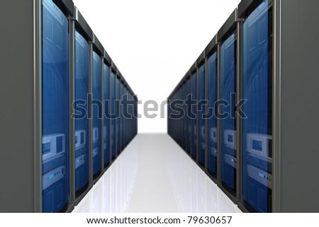 3d servers  datacenter isolated on white background - stock photo