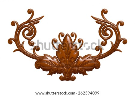 3d set of an ancient chocolate ornament on a white background - stock photo