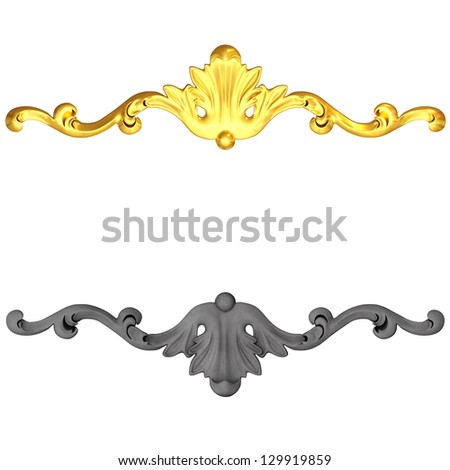 3d set of an ancient gold and ceramics ornament on a white background