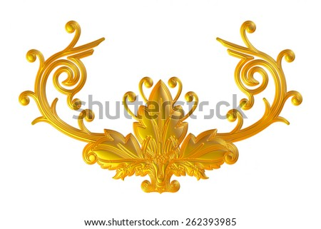 3d set of an ancient gold ornament on a white background - stock photo