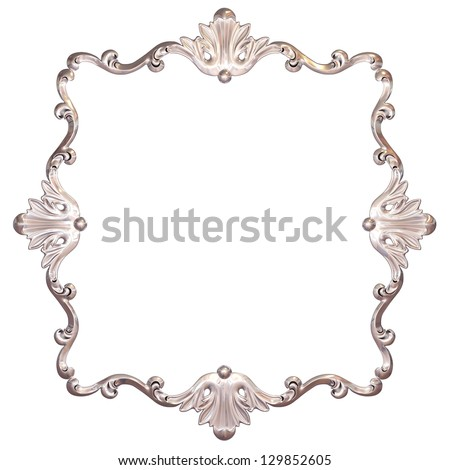 3d set of an ancient silver ornament on a white background