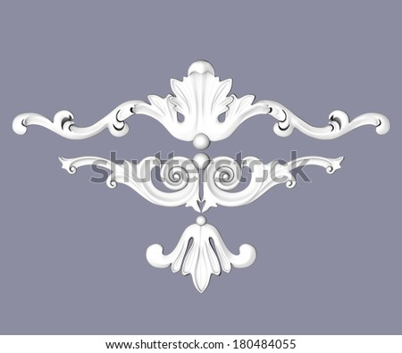 3d set of an fretwork details, the sculptural form on a gray background