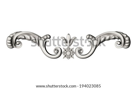 3d set of an fretwork details, the sculptural form on a white background