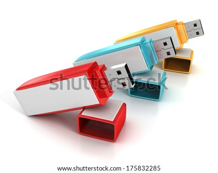 3d Set of colorful USB flash drives