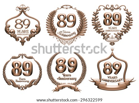 3D set of 89 years anniversary elements on isolated white background. - stock photo