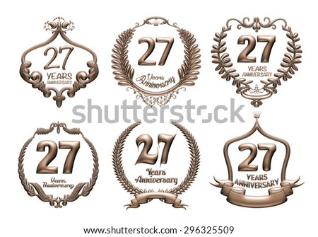 3D set of 27 years anniversary elements on isolated white background. - stock photo