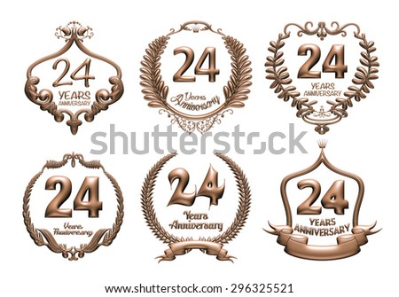 3D set of 24 years anniversary elements on isolated white background. - stock photo