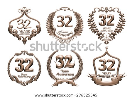 3D set of 32 years anniversary elements on isolated white background. - stock photo