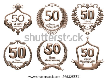 3D set of 50 years anniversary elements on isolated white background. - stock photo