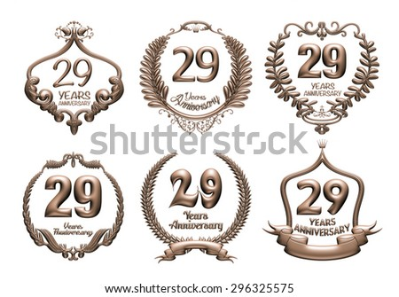 3D set of 29 years anniversary elements on isolated white background. - stock photo