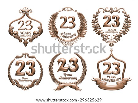 3D set of 23 years anniversary elements on isolated white background. - stock photo