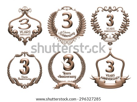 3D set of 3 years anniversary elements on isolated white background. - stock photo
