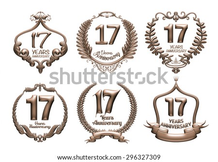 3D set of 17 years anniversary elements on isolated white background. - stock photo