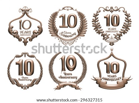 3D set of 10 years anniversary elements on isolated white background. - stock photo