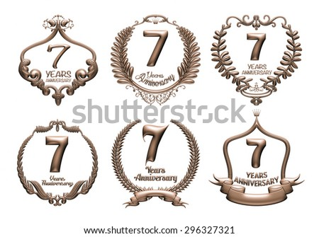 3D set of 7 years anniversary elements on isolated white background. - stock photo