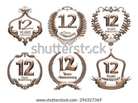 3D set of 12 years anniversary elements on isolated white background. - stock photo