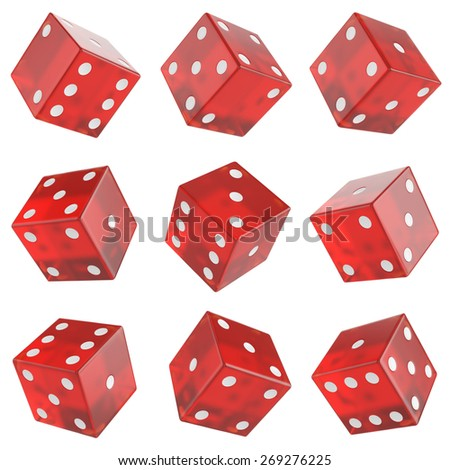 3d set red glass dice isolated on white background. - stock photo