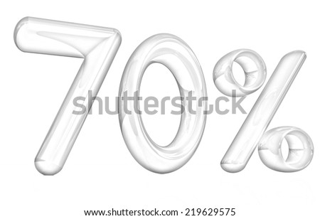 """3d """"70"""" - Seventy percent on a white background. Pencil drawing  - stock photo"""