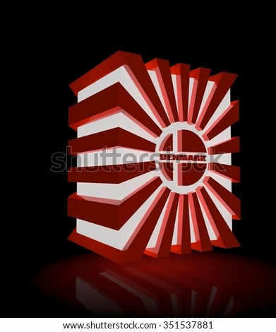 3d shape from Denmark national flag elements. Image for Constitution Day celebration. 5 june Denmark national holiday. Neon glowing - stock photo