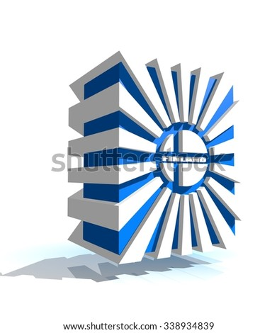 3d shape from finland national flag elements. Image for Independence Day celebration. 6 december finland national holiday - stock photo