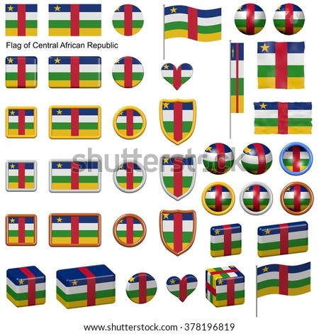 3d shapes containing the flag of Central African Republic