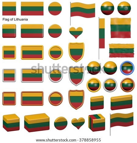 3d shapes containing the flag of Lithuania