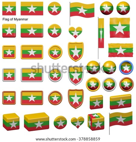 3d shapes containing the flag of Myanmar