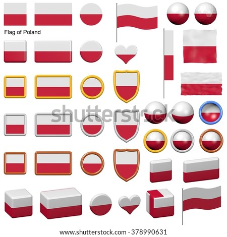 3d shapes containing the flag of Poland