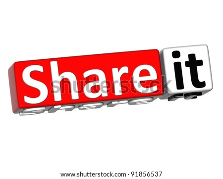3D Share it over white background - stock photo