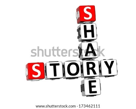 3D Share Story Crossword on white background - stock photo