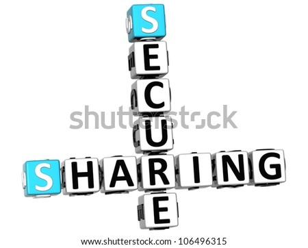 3D Sharing Secure Crossword on white background