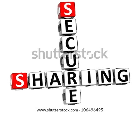 3D Sharing Secure Crossword on white background - stock photo